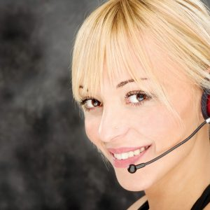 Blond woman as a telephone operator